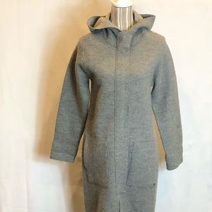 Ted Baker long gray hooded wool sweater coat